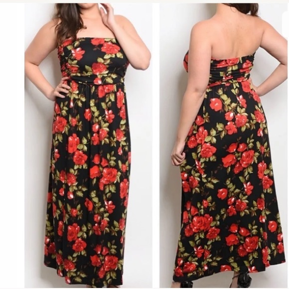 0a6a1b4d0cda Zenobia Dresses | Boutique Plus Size Black Red Floral Maxi Dress ...